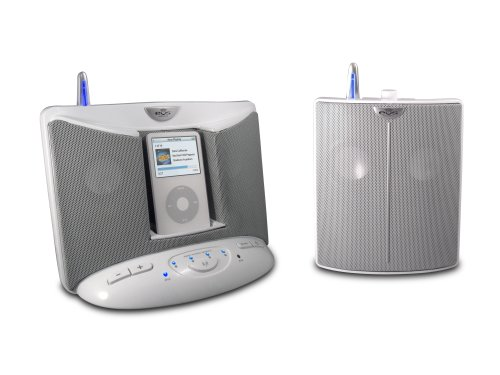 (EOS 100T1R Wireless Audio System with Universal iPod Docking Base and Remote Speaker (White))