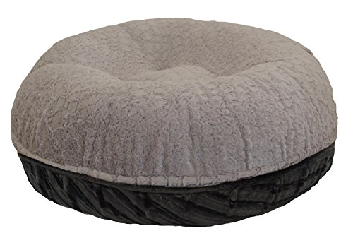 BESSIE AND BARNIE 42-Inch Bagel Bed for Pets, Large, Black Puma/Serenity Grey by BESSIE AND BARNIE