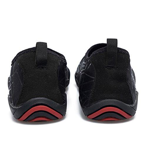 kissavi Damen Herren Aqua Schuhe Badeschuhe Schwimmschuhe Wasserdicht Schnell Trocknend Schuhe,Sommer Wasserschuhe Surfschuhe Barfuß Schuhe Schwarz-C