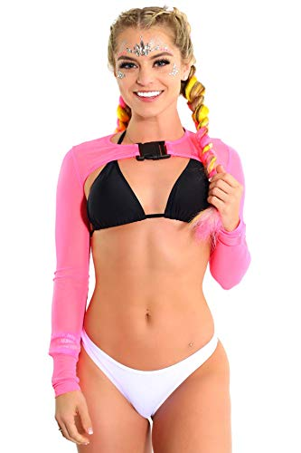 Pink Womens Crop Top Mesh See Through Neon Rave T-Shirt EDM Buckle Small ()
