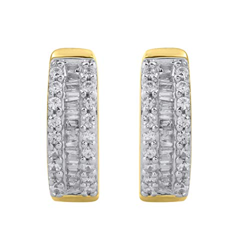 (10k Yellow Gold Diamond Hoop Earrings (1/4 cttw, H-I Color, I2-I3 Clarity), 1cm)