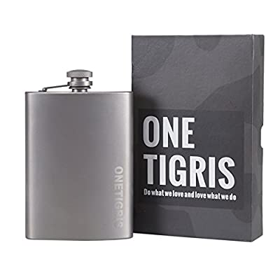 OneTigris Titanium Hip Flask, Healthy Drink Bottle Outdoor Camping Wine Flask 6 oz/ 8 oz Available