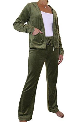 Verde 6474 Ice Chándal Capucha Mujeres Con Terciopelo Lujo Encuadre De TzAF1x