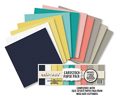 Cardstock Paper Pack - Free Spirit - 32 Sheets Solid Core Textured Card Stock - Custom Colors Matched for Our Designs - Card Making Crafting Scrapbook - by Miss Kate Cuttables