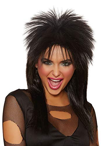 Dreamgirl Adult's Unisex Rocker Wig, Black, One Size -