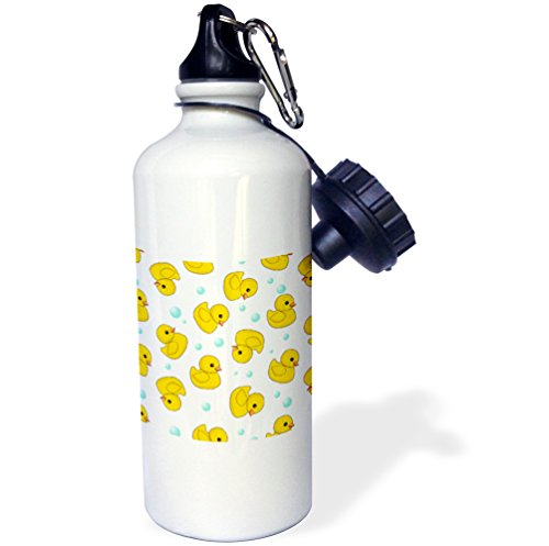 3dRose Cute Rubber Pattern on White. Yellow Ducks soap Bubbles. Duckies-Sports Water Bottle, 21oz (wb_193779_1), 21 oz, Multicolor