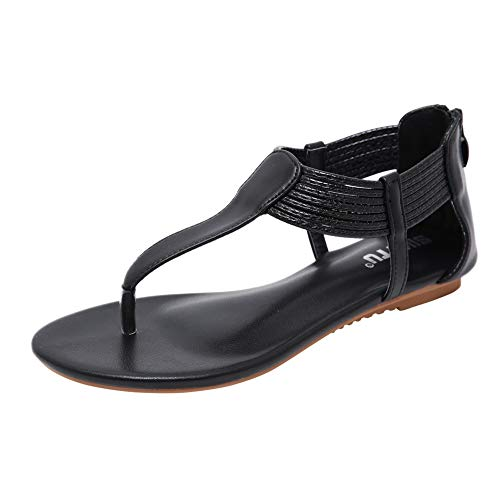 Meeshine Women Casual Gladiator Roman Style Ankle Strap Flat Summer Sandals Shoes(8 B(M) US,Black 04)
