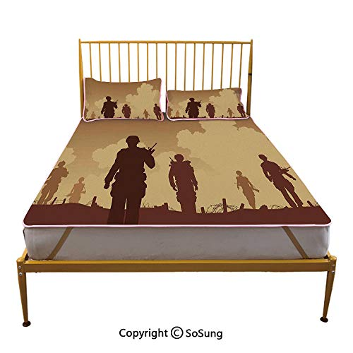 - War Home Decor Creative King Size Summer Cool Mat,Soldier Shadows with Military Costumes and Weapons Walking on Patrol Print Sleeping & Play Cool Mat,Brown Cream