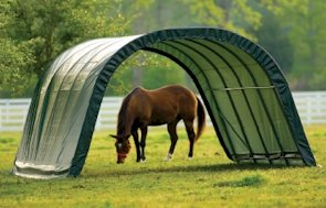 ShelterLogic 12 x 20 x 8- Feet Round Style Run-In Shelter, Green Cover, Outdoor Stuffs