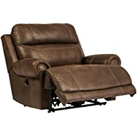 Austere 3840082 55 Zero Wall Power Recliner with Plush Rolled Arms Thick Divided Back Cushion and Nail-Head Accents in Brown