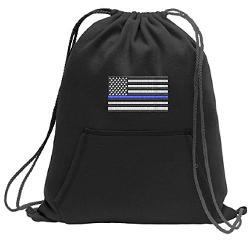 Thin Blue Line Embroidered Flag Cinch Sack Backpack Back Pack Police Law Enforcement