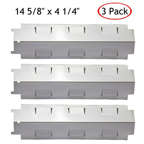 HANEE KS734 Gas Grill Stainless Steel Heat Plate Shield Tent, Burner Cover Flame Tamer, BBQ Replacement Parts for Charbroil, Brinkmann, Kenmore, Master Forge, 14 5/8 inch x 4 1/4 inch, Set of 3