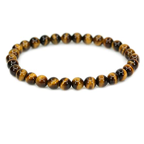 Citrine Tigers Eye Bracelet - Natural AA Grade Golden Tiger Eye Gemstone 6mm Round Beads Stretch Bracelet 7