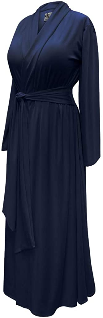 1920s Nightgowns, Pajamas and Robes History 1940s Long Dressing Gown Robe Cotton Rayon w/Attached Belt Sanctuarie Designs Plus Size Navy Retro   AT vintagedancer.com