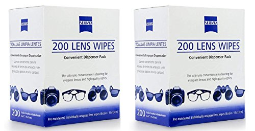 Zeiss Pre-Moistened Lens Cleaning Wipes, Pack of 200 (2 Pack) by Zeiss