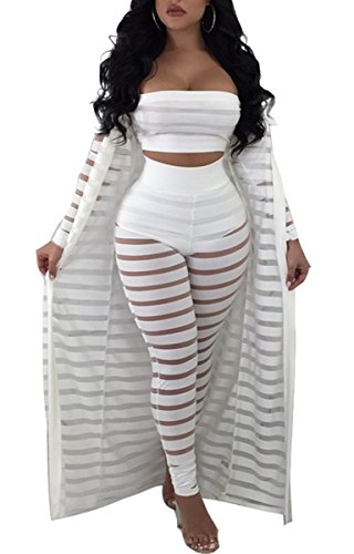 White Romper Set - Women's Sexy 2 Pieces Outfit Floral Print Cardigan Cover-up with Pants Set Bodycon Jumpsuit Rompers (Large, White)