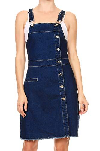 Anna-Kaci Women's Classic Adjustable Strap Midi Long Denim Jeans Jumpers Dress,Blau,Medium
