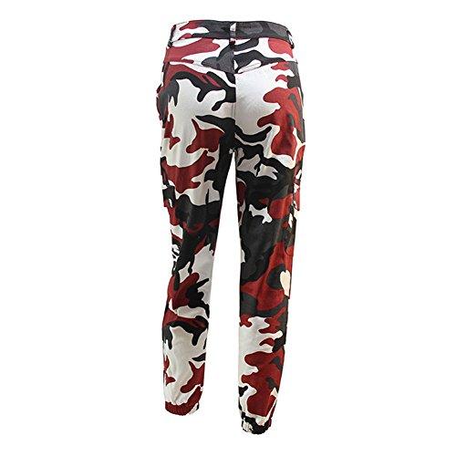 Rouge Juleya Vin Femmes Militaire Coton Harem Pantalon Cheville Camo Jogger Camouflage Longueur Hommes Mode q4ra7q
