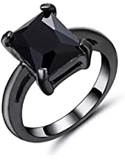 Women's black gold Plated ring & inlaid with Black Onyx gemstone Size US 6