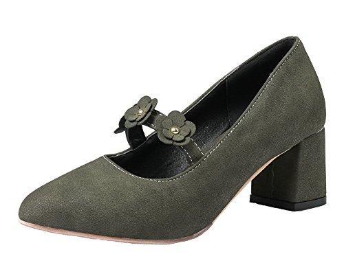 AgooLar Damen Mattglasbirne Mittler Absatz Spitz Zehe Ziehen auf Pumps Schuhe Dunkelgrün