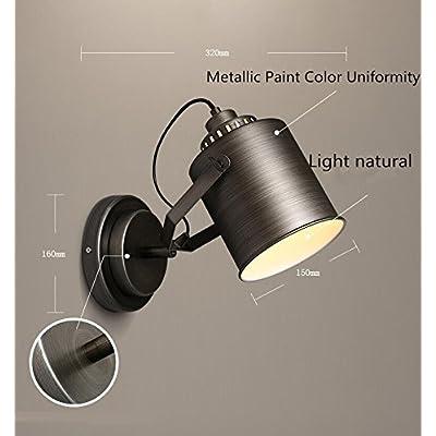 Applique murale industrielle Vintage Lampe Murale applique murale Chambre Escalier Couloir de chevet en fer forgé Lampe Murale Angle-Adjustable