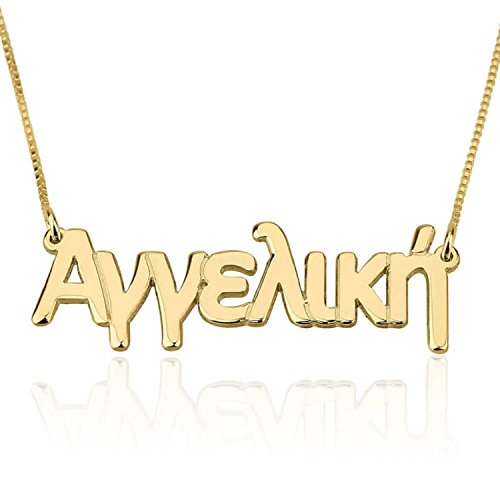 Personalized Custom 24k Gold Plated Greek Name Necklace Jewelry - Name Greek Necklace