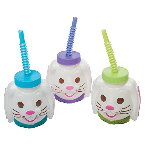 Easter Bunny Molded Cups with Lids & Straws 4 oz