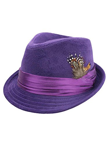 Purple Wool Felt Fedora Hat...