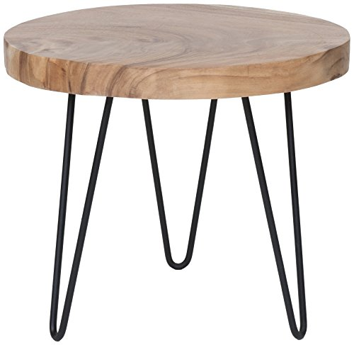 East At Main Phillip Brown Teakwood Accent Table, (22x22x19) For Sale