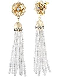 Women's Rhinestone Flower Style Beaded Simulated Pearl Yellow Gold-Tone Tassel Earrings