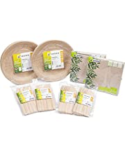 HEKU 30011-01 - Juego de utensilios de cocina (biodegradables, con platos, cuchillos, tenedores y servilletas, 170 piezas), color verde