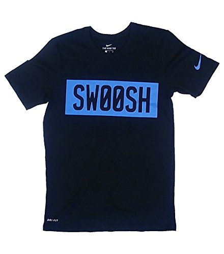 NIKE Mens Dri-Fit Swoosh Block Dry T-Shirt AO4446 010 Black New (M) (T-shirt Mens Swoosh)