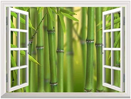 White Window Looking Out Into a Bamboo Forest II Wall Mural