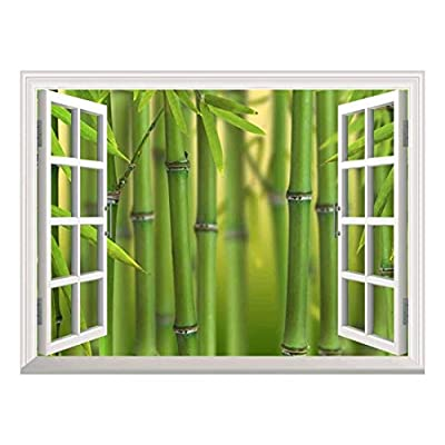 Modern White Window Looking Out Into a Bamboo Forest II - Wall Mural, Removable Sticker, Home Decor - 36x48 inches