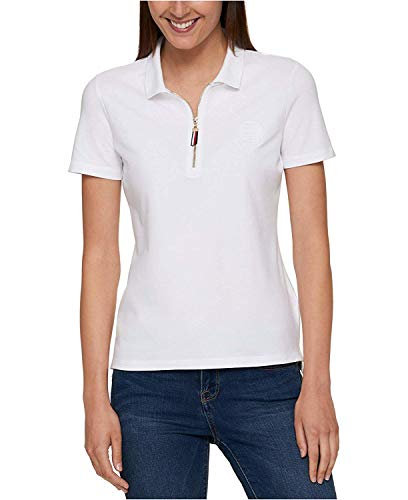 (Tommy Hilfiger Women's Zip-up Polo Top White XL)