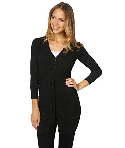 5288-BLK-SM (Cashmere Blend Longline Cardigan, (Belted Cardigan Sweater)