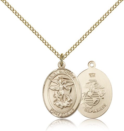 """ReligiousObsession's Gold Filled St. Michael Marines Pendant - 18"""" Chain"""