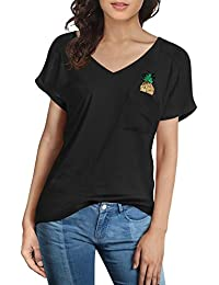 Women's Cotton V Neck Short Sleeve Sequins Embroidery Casual T Shirt Tops With Front Pocket