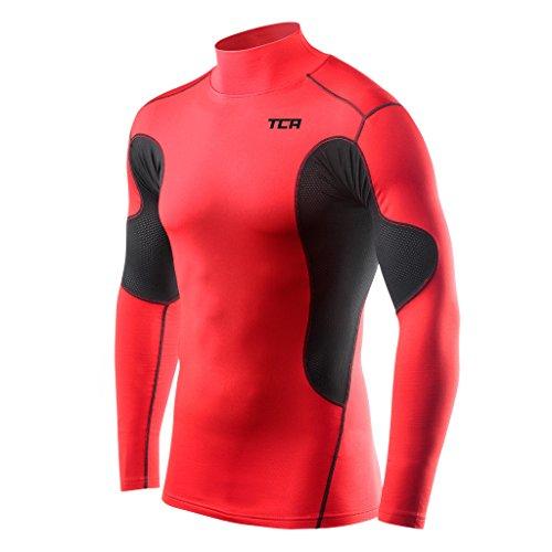 (TCA Men's Boys SuperThermal Compression Base Layer Thermal Long Sleeve Mock Neck Top - Red/Black Medium)