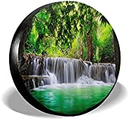 Liangming Tropical Waterfall in Forest Woodland Jungle Scenery Spare Tire Covers Wheel Protectors Weatherproof