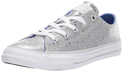 Converse Girls' Chuck Taylor All Star Galaxy Glimmer Sneaker, Silver/Ozone Blue/White, 2.5 M US Little ()