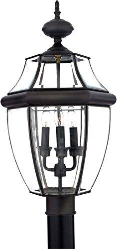 Quoizel NY9043Z Newbury Outdoor Post Lantern Pier Mount Lighting, 3-Light, 180 Watts, Medici Bronze (23