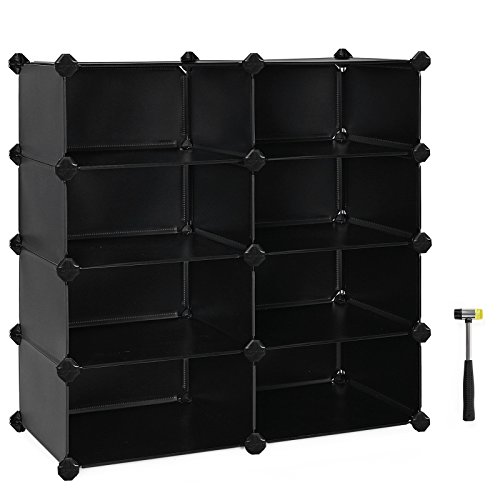 (SONGMICS 4-Tier Shoe Rack, Space Saving 16-Pair Plastic Shoe Storage Organizer Units, Cabinet Storage Organizer, Ideal for Entryway Hallway Bathroom Living Room and Corridor, Black ULPC24H)