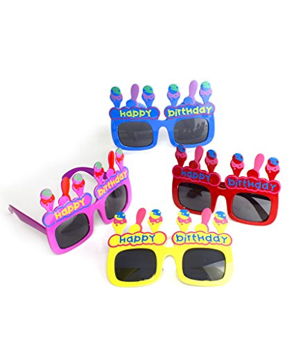 Fun Central AT802, 12 Pcs Assorted Happy Birthday Sunglasses, Ice Cream -
