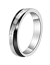 """Flongo Men's Womens """"You Are Always In My Heart"""" Matching Stainless Steel Promise Proposal Wedding Band Ring"""