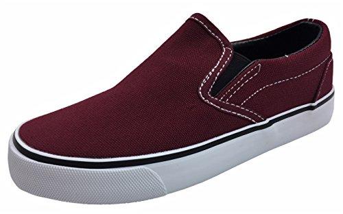 Kid's Classic Slip On Canvas Sneaker Tennis Shoes, 2926 Dark RED 12 US Little Kid (Dark Tennis Shoes)