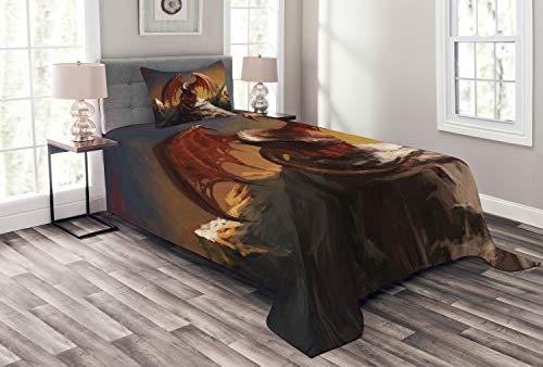 Lunarable Dragon Bedspread Set Twin Size, Malicious Dragon