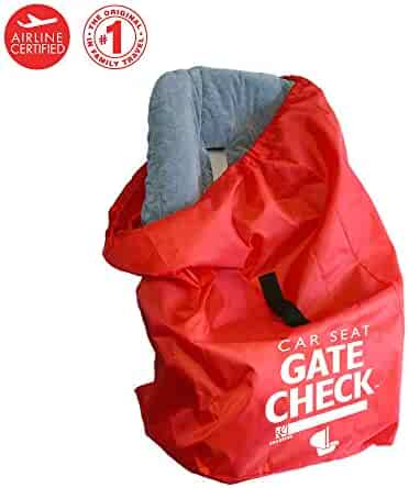 J.L. Childress DELUXE Gate Check Bag for Car Seats - Premium Heavy-Duty Durable Air Travel Bag, Backpack Straps - Fits Convertible Car Seats, Infant carriers & Booster Seats, Red