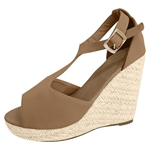 ❤Kauneus❤ Wedges Platform Sandals for Women Weave Thick Bottom T-Strap Buckle Ankle Strap Casual Espadrilles Sandals Brown (Top 5 Hip Hop Artists Of All Time)