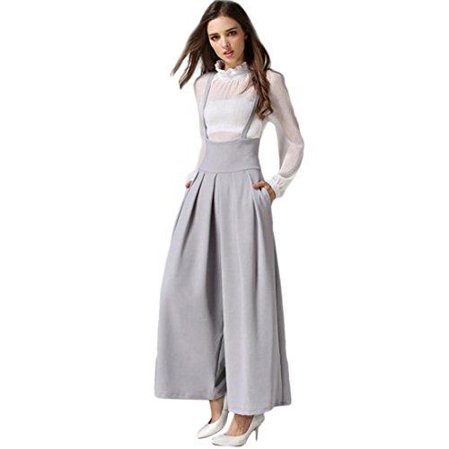 Jambes À Jumpsuit Adeshop Taille Larges Pure Femmes Couleur Gris Jarretelles Casual Plissée Pantalons Haute qqA8zwTRx